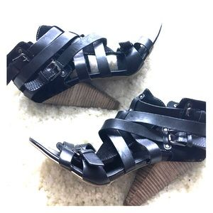 TROUVE BLACK LEATHER CAGED HEELS